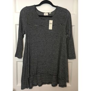 ANTHROPOLOGIE GRAY/BLACK STRIPED TUNIC S NWT